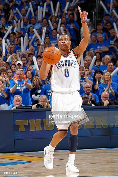Russell Westbrook of the Oklahoma City Thunder calls a play in Game Six of the Western Conference Quarterfinals against the Los Angeles Lakers during...
