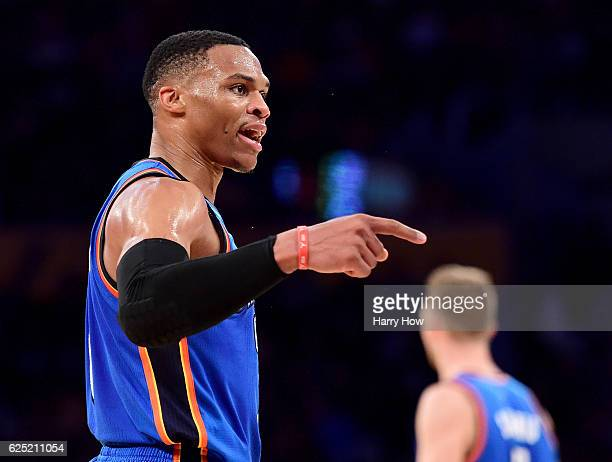 Russell Westbrook of the Oklahoma City Thunder calls for a foul during the first half against the Los Angeles Lakers at Staples Center on November 22...