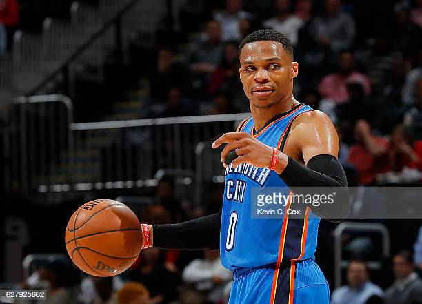 Russell Westbrook of the Oklahoma City Thunder calls out to his teammates against the Atlanta Hawks at Philips Arena on December 5 2016 in Atlanta...