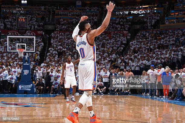 Russell Westbrook of the Oklahoma City Thunder celebrates a shot in Game Four of the Western Conference Finals against the Golden State Warriors...