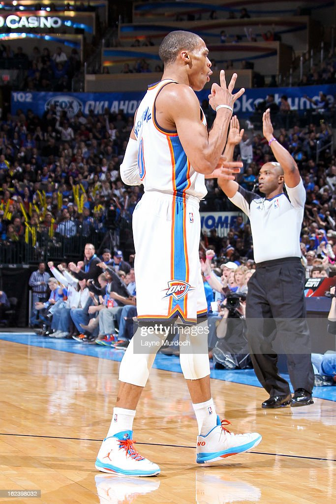 Russell Westbrook #0 of the Oklahoma City Thunder celebrates after making a three-pointer against the Minnesota Timberwolves on February 22, 2013 at the Chesapeake Energy Arena in Oklahoma City, Oklahoma.