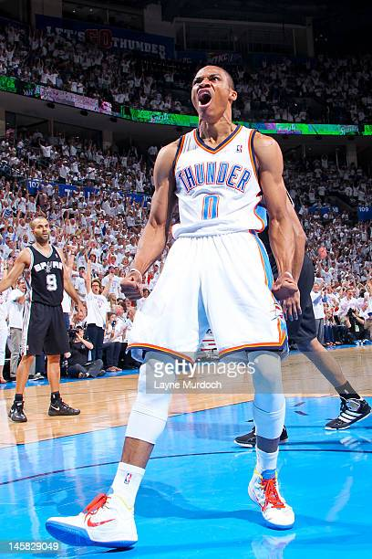 Russell Westbrook of the Oklahoma City Thunder celebrates after dunking against the San Antonio Spurs in Game Six of the Western Conference Finals...