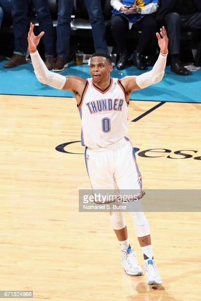 Russell Westbrook of the Oklahoma City Thunder celebrates after scoring against the Houston Rockets during Game Three of the Western Conference...