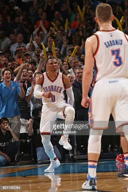Russell Westbrook of the Oklahoma City Thunder celebrates and dances after dunking the ball against the Houston Rockets on November 16 2016 at...