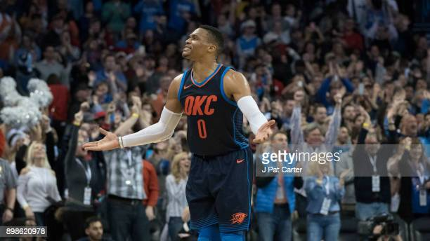 Russell Westbrook of the Oklahoma City Thunder celebrates during the second half of a NBA game against the Houston Rockets at the Chesapeake Energy...