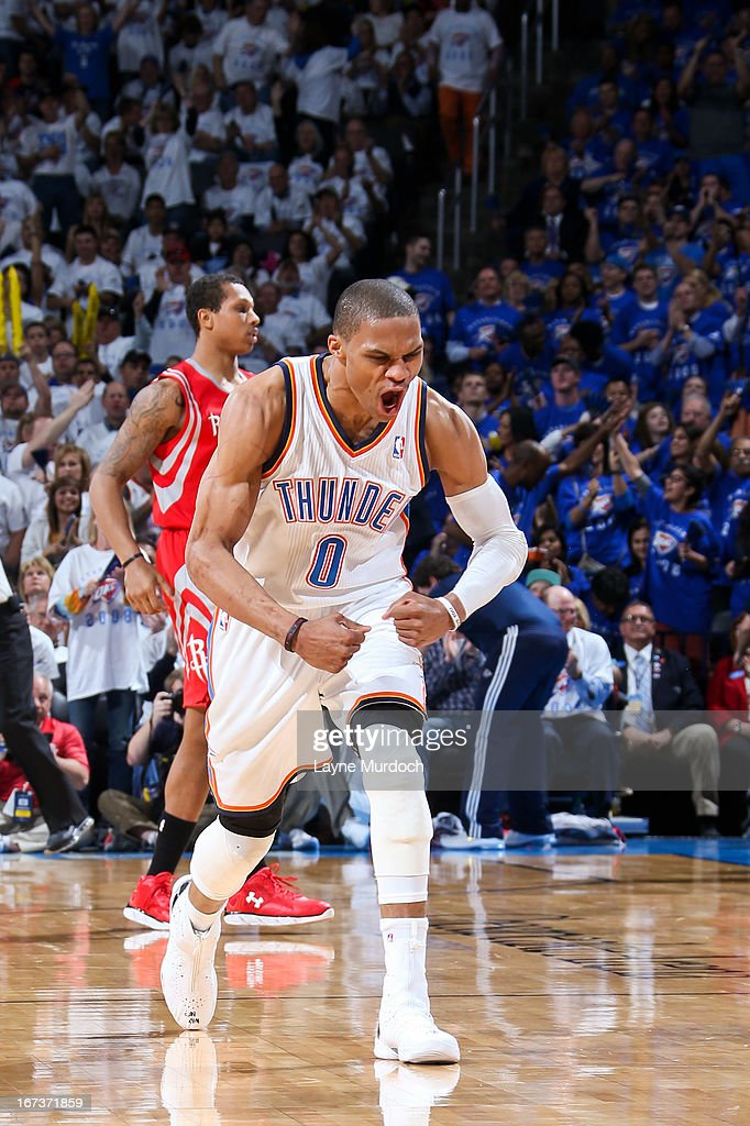 Russell Westbrook #0 of the Oklahoma City Thunder celebrates while playing against the Houston Rockets in Game Two of the Western Conference Quarterfinals during the 2013 NBA Playoffs on April 24, 2013 at the Chesapeake Energy Arena in Oklahoma City, Oklahoma.
