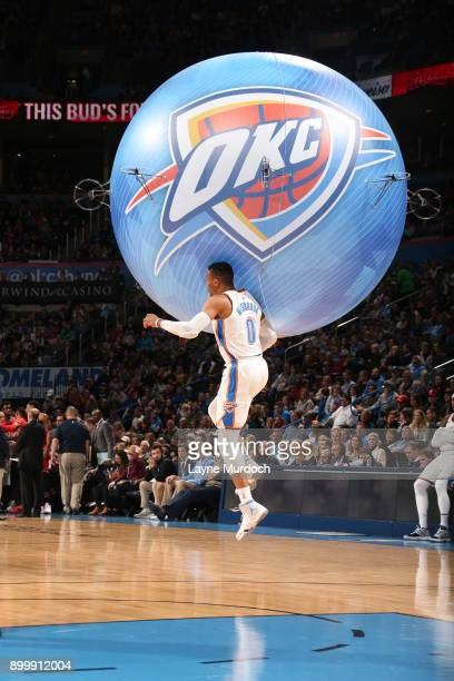 Russell Westbrook of the Oklahoma City Thunder chest bumps the Oklahoma City Thunder balloon drone during the game against the Toronto Raptors on...