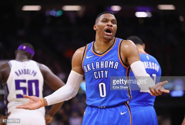 Russell Westbrook of the Oklahoma City Thunder complains about a call during their game against the Sacramento Kings at Golden 1 Center on November 7...