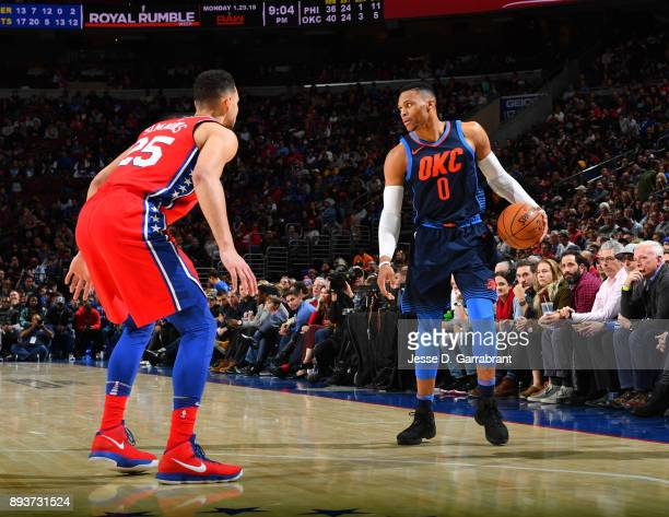 Russell Westbrook of the Oklahoma City Thunder controls the ball against the Philadelphia 76ers at Wells Fargo Center on December 15 2017 in...
