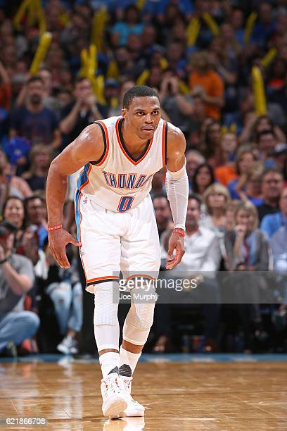 Russell Westbrook of the Oklahoma City Thunder defends during the game against the Phoenix Suns on October 28 2016 at the Chesapeake Energy Arena in...