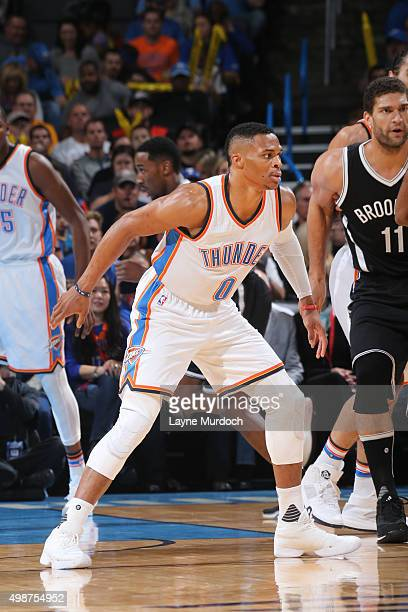 Russell Westbrook of the Oklahoma City Thunder defends the basket against the Brooklyn Nets during the game on November 25 2015 at Chesapeake Energy...