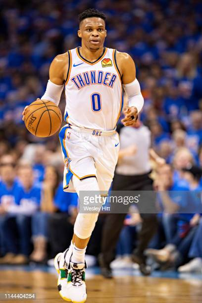 Russell Westbrook of the Oklahoma City Thunder dribbles down the court during a game against the Portland Trail Blazers during Round One Game Three...