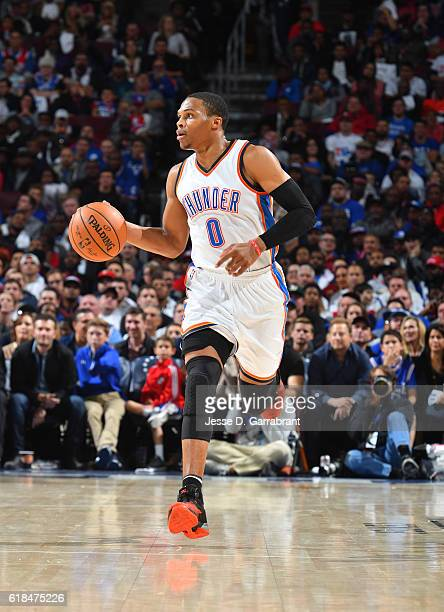Russell Westbrook of the Oklahoma City Thunder dribbles the ball against Philadelphia 76ers during game at the Wells Fargo Center on October 26 2016...