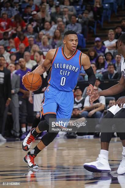 Russell Westbrook of the Oklahoma City Thunder dribbles the ball against the Sacramento Kings on February 29 2016 at Sleep Train Arena in Sacramento...