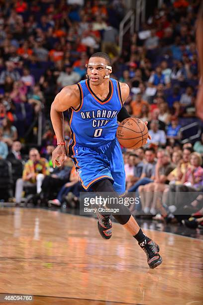 Russell Westbrook of the Oklahoma City Thunder drives against the Phoenix Suns on March 29 2015 at US Airways Center in Phoenix Arizona NOTE TO USER...