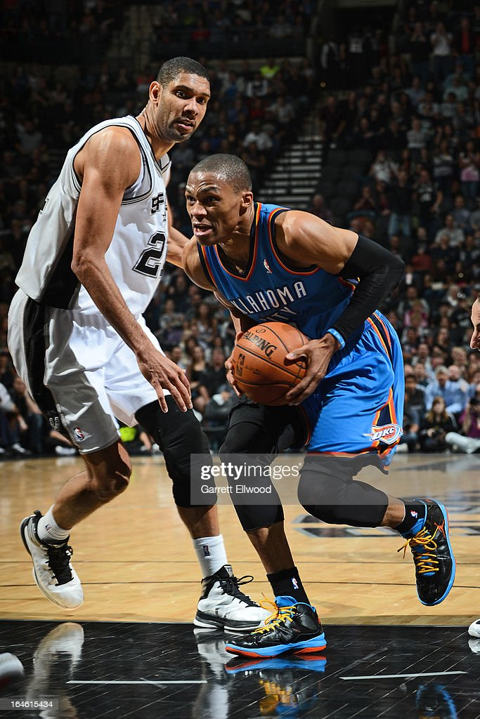 Russell Westbrook #0 of the Oklahoma City Thunder drives to the basket against the San Antonio Spurs on March 11, 2013 at the AT&T Center in San Antonio, Texas.