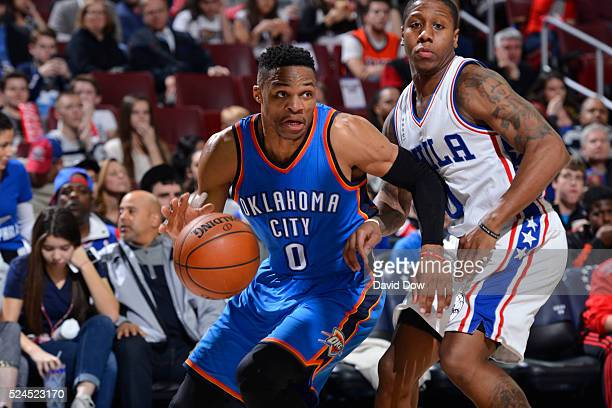 Russell Westbrook of the Oklahoma City Thunder drives to the basket against the Philadelphia 76ers at the Wells Fargo Center on March 18 2016 in...