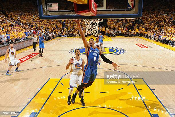 Russell Westbrook of the Oklahoma City Thunder drives to the basket during Game Seven of the Western Conference Finals against the Golden State...
