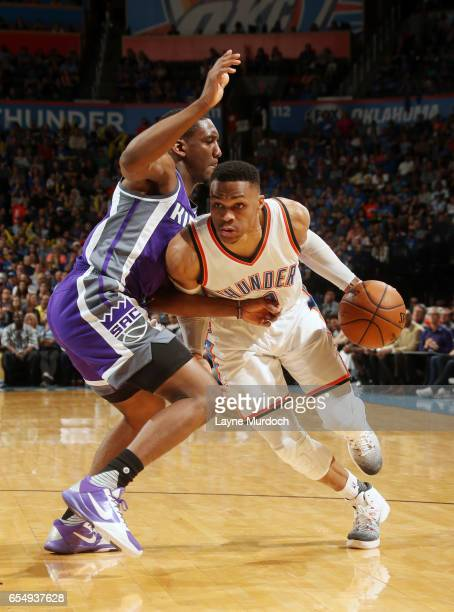 Russell Westbrook of the Oklahoma City Thunder drives to the basket against the Sacramento Kings during the game on March 18 2017 at Chesapeake...