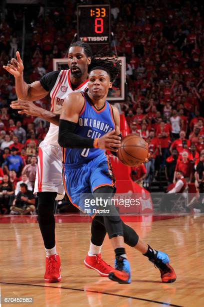 Russell Westbrook of the Oklahoma City Thunder drives to the basket against the Houston Rockets during Game Two of the Western Conference...
