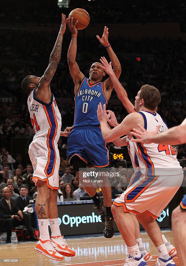 Russell Westbrook #0 of the Oklahoma City Thunder drives to the basket against the New York Knicks at Madison Square Garden on February 20, 2010 in New York, New York.