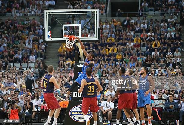 Russell Westbrook of the Oklahoma City Thunder dunks against FC Barcelona Lassa as part of the 2016 Global Games on October 5 2016 at the Palau Sant...