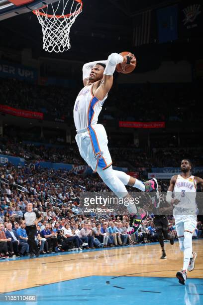 Russell Westbrook of the Oklahoma City Thunder dunks against the Detroit Pistons on April 5 2019 at Chesapeake Energy Arena in Oklahoma City Oklahoma...