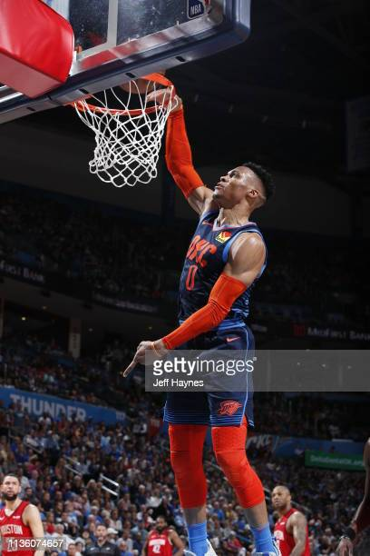 Russell Westbrook of the Oklahoma City Thunder dunks against the Houston Rockets on April 9 2019 at Chesapeake Energy Arena in Oklahoma City OK NOTE...