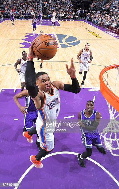 Russell Westbrook of the Oklahoma City Thunder dunks against the Sacramento Kings on November 23 2016 at Golden 1 Center in Sacramento California...