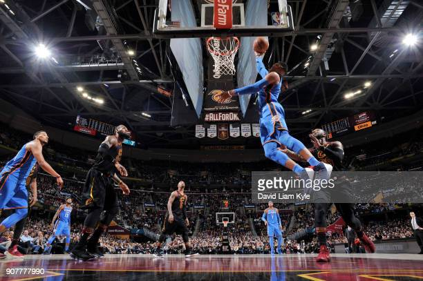 Russell Westbrook of the Oklahoma City Thunder dunks against the Cleveland Cavaliers on January 20 2018 at Quicken Loans Arena in Cleveland Ohio NOTE...