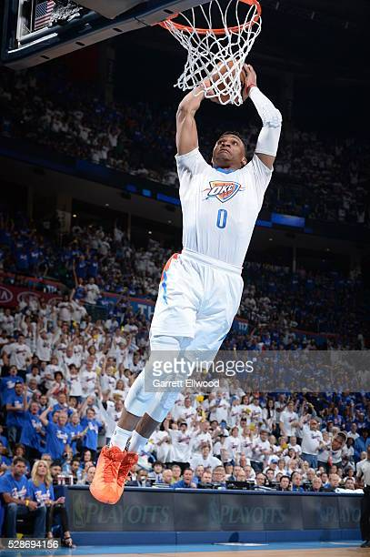 Russell Westbrook of the Oklahoma City Thunder dunks against the San Antonio Spurs in Game Three of the Western Conference Semifinals of the 2016 NBA...