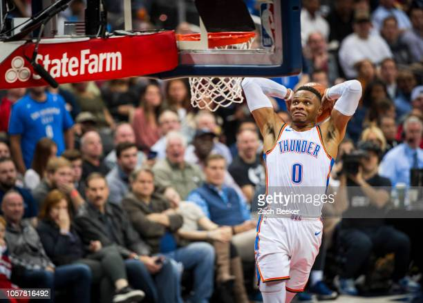 Russell Westbrook of the Oklahoma City Thunder dunks the ball against the Washington Wizards on November 2 2018 at Capital One Arena in Washington DC...