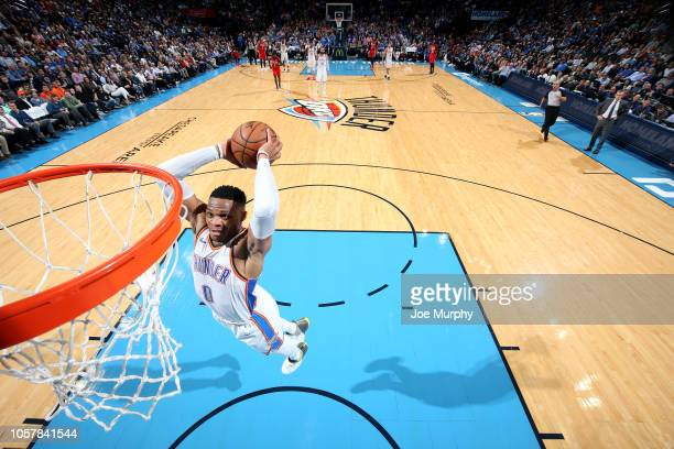 Russell Westbrook of the Oklahoma City Thunder dunks the ball against the New Orleans Pelicans on November 5 2018 at Chesapeake Energy Arena in...