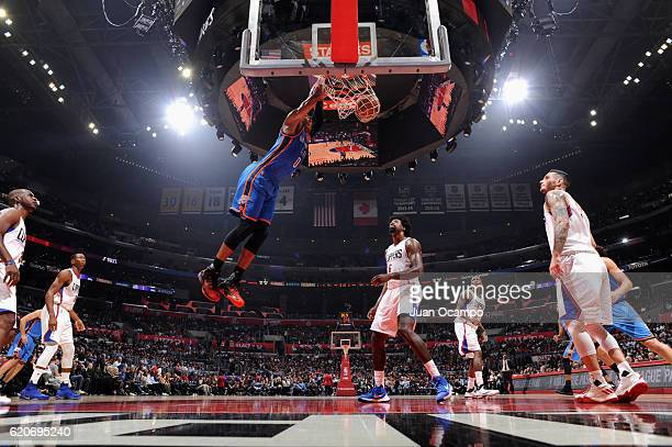 Russell Westbrook of the Oklahoma City Thunder dunks the ball against the Los Angeles Clippers on November 2 2016 at STAPLES Center in Los Angeles...