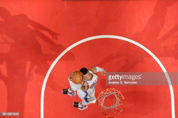 Russell Westbrook of the Oklahoma City Thunder dunks the ball against the LA Clippers on January 4 2018 at STAPLES Center in Los Angeles California...
