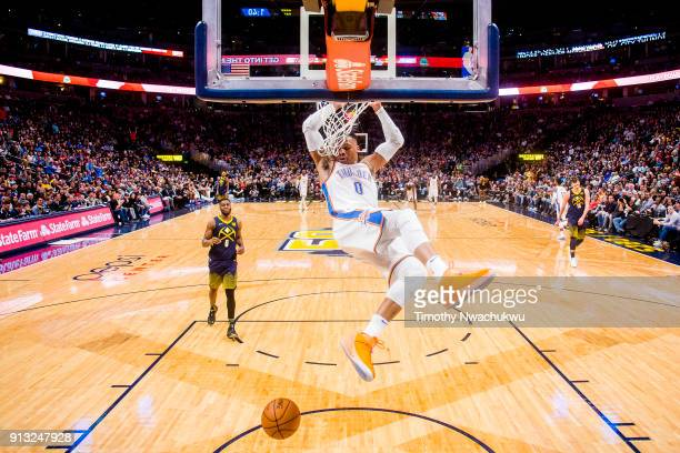 Russell Westbrook of the Oklahoma City Thunder dunks the ball against the Denver Nuggets at Pepsi Center on February 1 2018 in Denver Colorado NOTE...