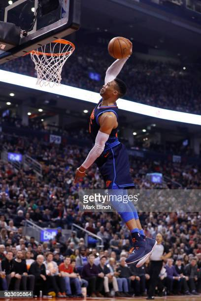 Russell Westbrook of the Oklahoma City Thunder dunks the ball against the Toronto Raptors on March 18 2018 at the Air Canada Centre in Toronto...