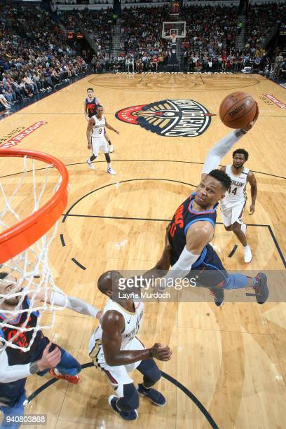 Russell Westbrook of the Oklahoma City Thunder dunks the ball against the New Orleans Pelicans on April 1 2018 at Smoothie King Center in New Orleans...