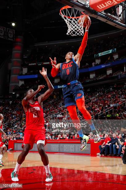 Russell Westbrook of the Oklahoma City Thunder dunks the ball during the game against the Houston Rockets on December 25 2018 at the Toyota Center in...