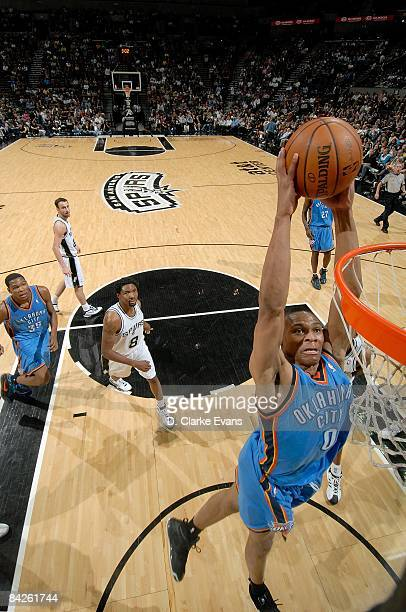 Russell Westbrook of the Oklahoma City Thunder dunks the ball during the game against the San Antonio Spurs on December 14 2008 at the ATT Center in...