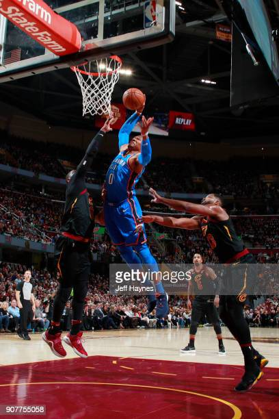 Russell Westbrook of the Oklahoma City Thunder dunks the ball during the game against the Cleveland Cavaliers on January 20 2018 at Quicken Loans...