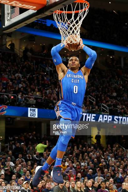 Russell Westbrook of the Oklahoma City Thunder dunks the ball during the first quarter of the game against the Cleveland Cavaliers at Quicken Loans...