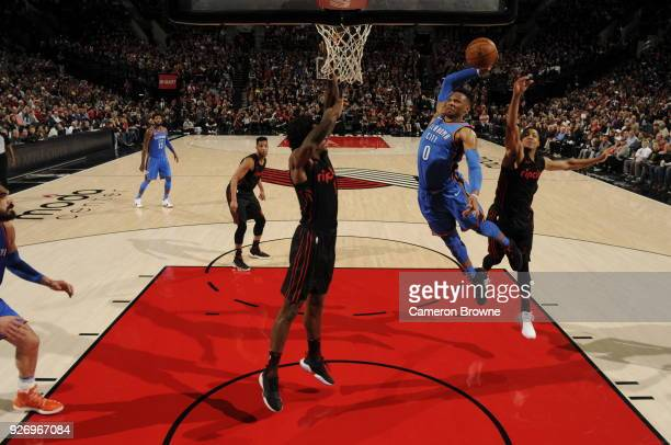 Russell Westbrook of the Oklahoma City Thunder dunks the ball during the game against the Portland Trail Blazers on March 3 2018 at the Moda Center...