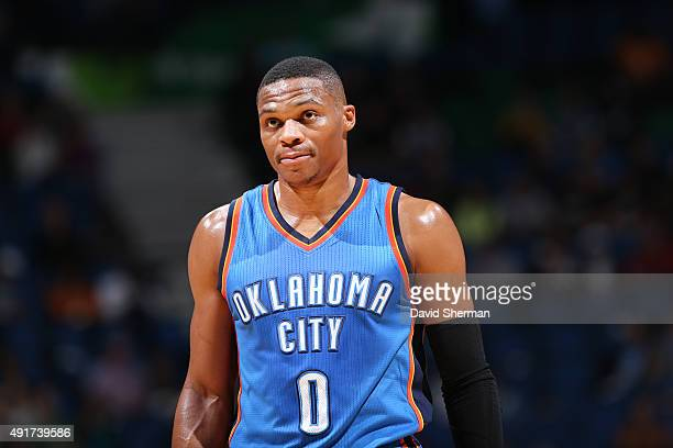 Russell Westbrook of the Oklahoma City Thunder during a preseason game face off against the Minnesota Timberwolves on October 7 2015 at Target Center...