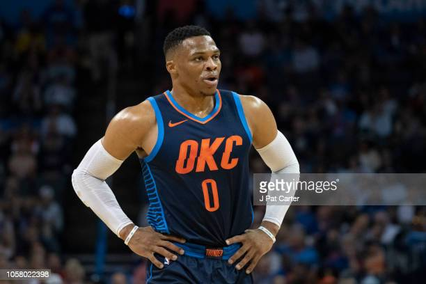 Russell Westbrook of the Oklahoma City Thunder during the first half of a NBA game at the Chesapeake Energy Arena on October 21 2018 in Oklahoma City...