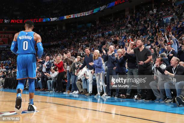 Russell Westbrook of the Oklahoma City Thunder during the game against the Cleveland Cavaliers on February 13 2018 at Chesapeake Energy Arena in...