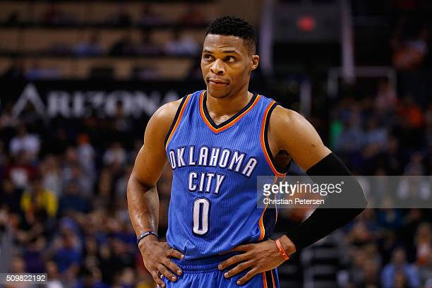 Russell Westbrook of the Oklahoma City Thunder during the NBA game against the Phoenix Suns at Talking Stick Resort Arena on February 8 2016 in...