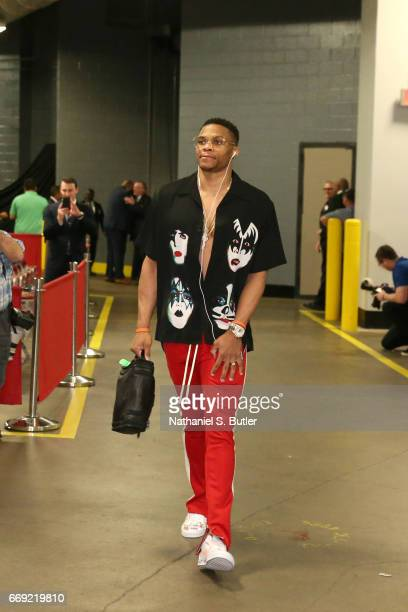 Russell Westbrook of the Oklahoma City Thunder enters the arena before the game against the Houston Rockets during the Western Conference...
