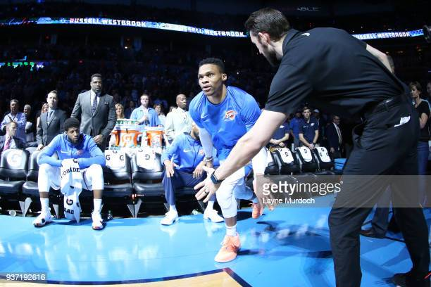 Russell Westbrook of the Oklahoma City Thunder enters the court before the game against the Miami Heat on March 23 2018 at Chesapeake Energy Arena in...