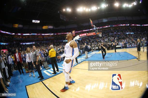 Russell Westbrook of the Oklahoma City Thunder gets introduced before the preseason game against the Melbourne United on October 8 2017 at Chesapeake...